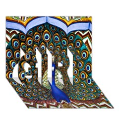 The Peacock Pattern GIRL 3D Greeting Card (7x5)