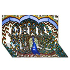 The Peacock Pattern Merry Xmas 3D Greeting Card (8x4)