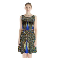 The Peacock Pattern Sleeveless Chiffon Waist Tie Dress