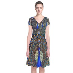 The Peacock Pattern Short Sleeve Front Wrap Dress