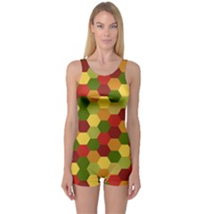 Hexagons in reds yellows and greens One Piece Boyleg Swimsuit