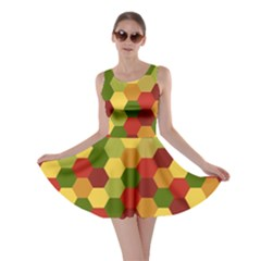 Hexagons In Reds Yellows And Greens Skater Dress