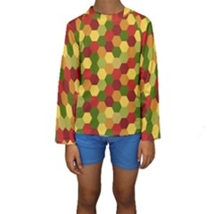 Hexagons In Reds Yellows And Greens Kids  Long Sleeve Swimwear