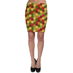 Hexagons In Reds Yellows And Greens Bodycon Skirt