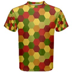 Hexagons in reds yellows and greens Men s Cotton Tee
