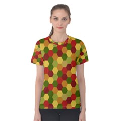 Hexagons in reds yellows and greens Women s Cotton Tee