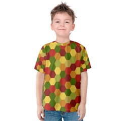 Hexagons in reds yellows and greens Kids  Cotton Tee