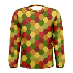 Hexagons in reds yellows and greens Men s Long Sleeve Tee