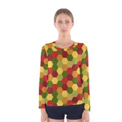 Hexagons in reds yellows and greens Women s Long Sleeve Tee