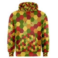 Hexagons In Reds Yellows And Greens Men s Pullover Hoodie