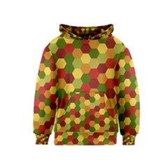 Hexagons in reds yellows and greens Kids  Pullover Hoodie