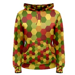 Hexagons in reds yellows and greens Women s Pullover Hoodie