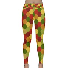 Hexagons in reds yellows and greens Yoga Leggings