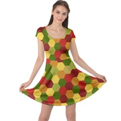 Hexagons in reds yellows and greens Cap Sleeve Dresses