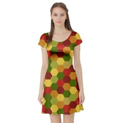 Hexagons in reds yellows and greens Short Sleeve Skater Dress