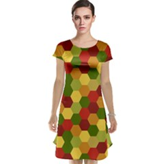 Hexagons In Reds Yellows And Greens Cap Sleeve Nightdress