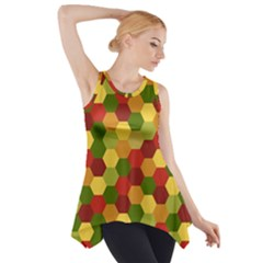 Hexagons in reds yellows and greens Side Drop Tank Tunic
