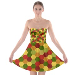 Hexagons in reds yellows and greens Strapless Bra Top Dress