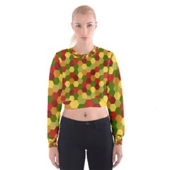 Hexagons In Reds Yellows And Greens Women s Cropped Sweatshirt