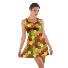 Hexagons In Reds Yellows And Greens Cotton Racerback Dress