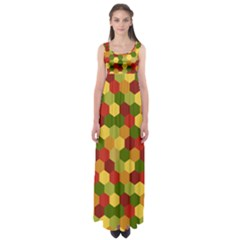 Hexagons In Reds Yellows And Greens Empire Waist Maxi Dress