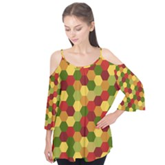 Hexagons in reds yellows and greens Flutter Tees