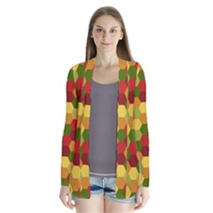 Hexagons In Reds Yellows And Greens Drape Collar Cardigan