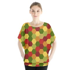 Hexagons in reds yellows and greens Blouse