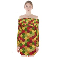 Hexagons in reds yellows and greens Long Sleeve Off Shoulder Dress