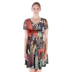 Tilt Shift Of Urban View During Daytime Short Sleeve V-neck Flare Dress