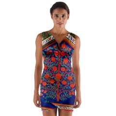 Tree Of Life Wrap Front Bodycon Dress