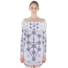 Tree Of Life Flower Of Life Stage Long Sleeve Off Shoulder Dress
