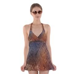 Typography Halter Swimsuit Dress
