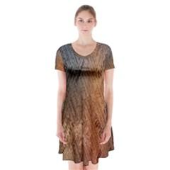 Typography Short Sleeve V-neck Flare Dress