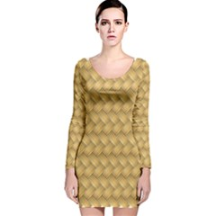 Wood Illustrator Yellow Brown Long Sleeve Velvet Bodycon Dress