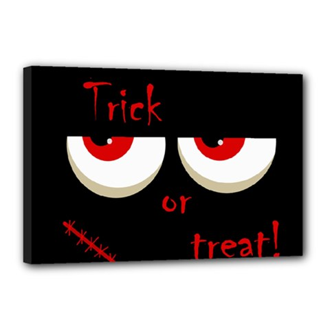 Halloween  Trick or treat  - monsters red eyes Canvas 18  x 12