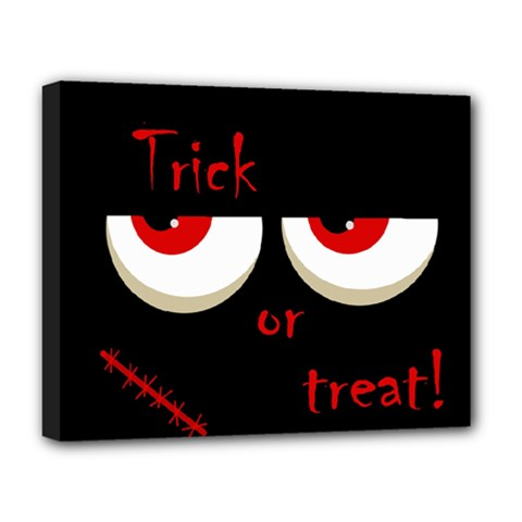 Halloween  Trick or treat  - monsters red eyes Deluxe Canvas 20  x 16