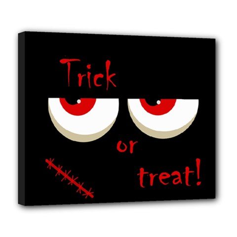 Halloween  Trick or treat  - monsters red eyes Deluxe Canvas 24  x 20