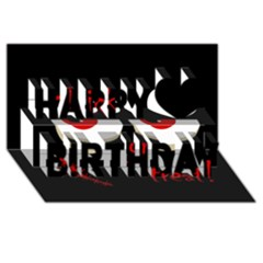 Halloween  Trick or treat  - monsters red eyes Happy Birthday 3D Greeting Card (8x4)