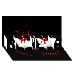 Halloween  Trick or treat  - monsters red eyes BELIEVE 3D Greeting Card (8x4)