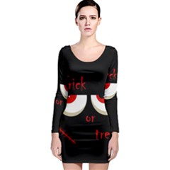 Halloween  Trick or treat  - monsters red eyes Long Sleeve Bodycon Dress