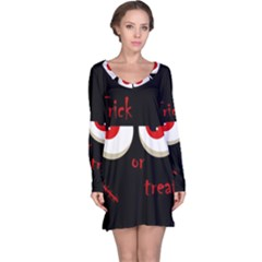 Halloween  Trick or treat  - monsters red eyes Long Sleeve Nightdress