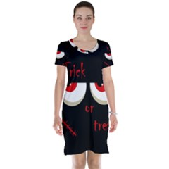 Halloween  Trick or treat  - monsters red eyes Short Sleeve Nightdress