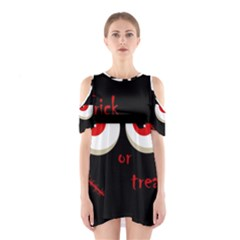 Halloween  Trick or treat  - monsters red eyes Cutout Shoulder Dress