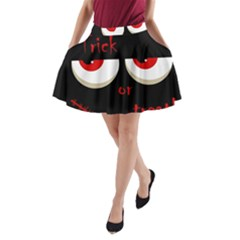 Halloween  trick Or Treat    Monsters Red Eyes A Line Pocket Skirt
