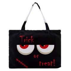 Halloween  trick Or Treat    Monsters Red Eyes Medium Zipper Tote Bag