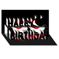Halloween party - red eyes monster Happy Birthday 3D Greeting Card (8x4)