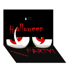 Halloween party - red eyes monster Circle 3D Greeting Card (7x5)