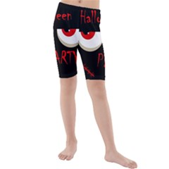 Halloween party - red eyes monster Kids  Mid Length Swim Shorts
