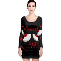 Halloween party - red eyes monster Long Sleeve Bodycon Dress